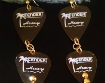Rock n Roll Fender Guitar pick  dangle earrings