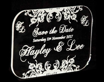 Laser Engraved Acrylic Save the Dates