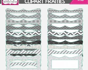 INSTANT DOWNLOAD: Grey and Mint Digital Frames - Digital Tag - Clipart - Commercial Use