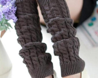 Slouchy Leg Warmers - Stretchy - Knitted - DARK GREY - Leg Warmers - Knee High