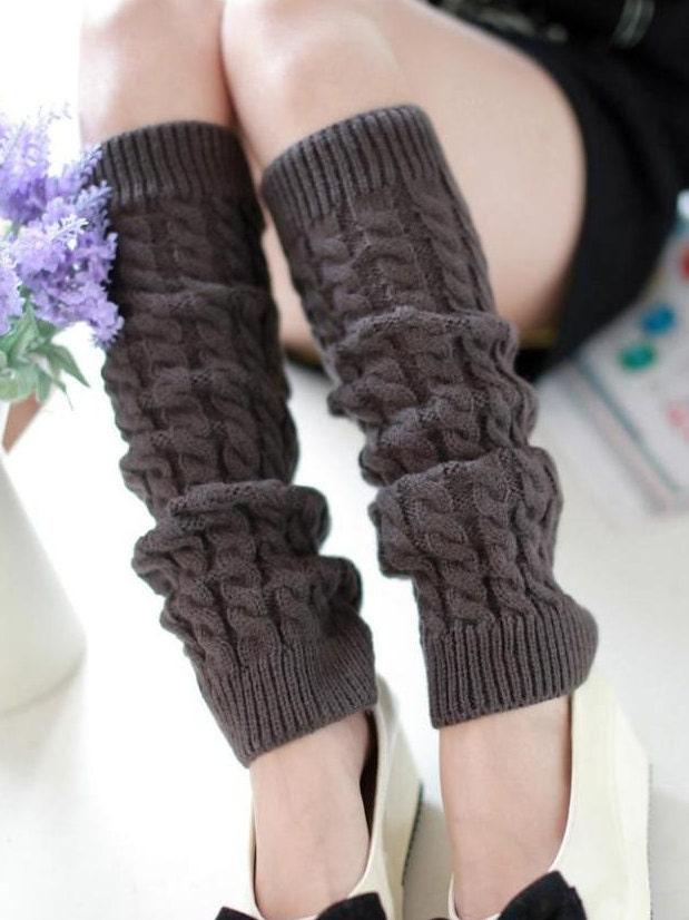 Slouchy Leg Warmers Stretchy Knitted DARK GREY Leg
