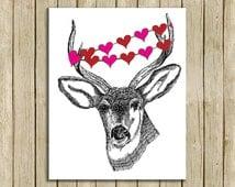 wall art printable deer love nature lover printable instant download 8 x 10 print home decor