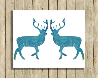 Printable Christmas Wall Art Blue Reindeer Instant Download 8 X 10 Modern Contemporary Art Print Home