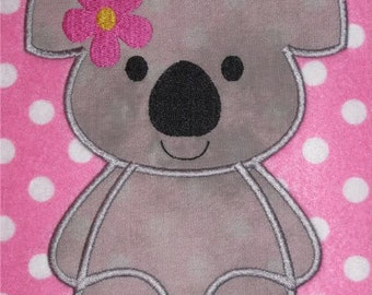 Super Sale Price!! Kutie Koala Applique with flower and plain Embroidery Machine Designs for the 5x7 hoop