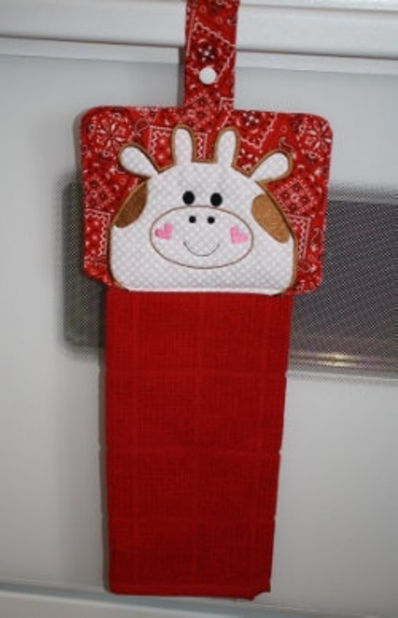 Square Cow Towel Hanger Embroidery Machine Design For The 6x10