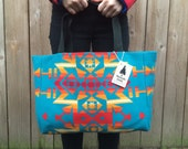 Wool Shopper Tote - Tribal Blanket Wool - Boho Tote Bag