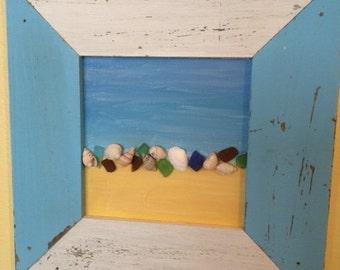Sea Glass and shell frame