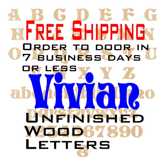 Unfinished Wood Letters Numbers, Free Shipping, Vivan, Wood Craft, laser cut wood, &, birch, wooden, wall, DIY, Wedding
