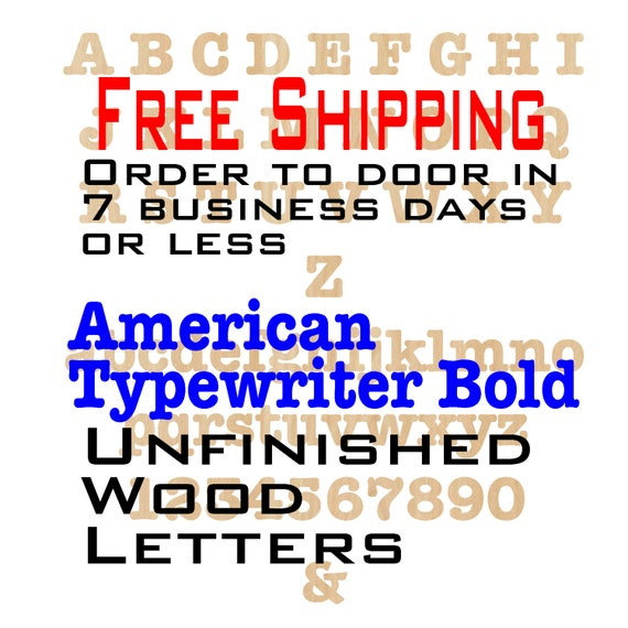 Unfinished Wood Letters Numbers, Free Ship, American Typewriter Bold, Wood Craft, laser cut wood wood, &, wooden, wall, DIY