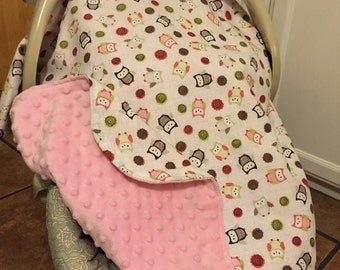 Carseat Cover, Infant Carsear Canopy, Light Pink Minky, Owls N Pink Carseat Canopy