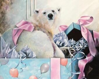 Birthday Cards, Greeting Cards, Polar Bear Birthday Card, Blank Card, Polar Bear Christmas Card, Holiday Card, Child's Birthday Card,