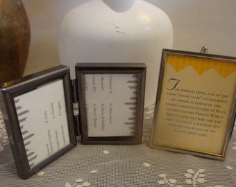 vintage small gun metal double frame + chrome colored metal frame set group lot photo picture display