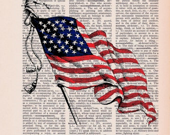 Dictionary Page Wall Art: American Flag Vintage Dictionary Art Print, Wall Decor ZRP8043