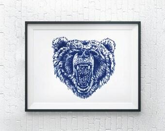 Illustrated Chicago Bears Wall Art / Chicago Art Print