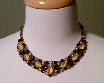 Unique Vintage Amber and Citrine rhinestone and Yellow Cabochon Choker (Marked Japan)