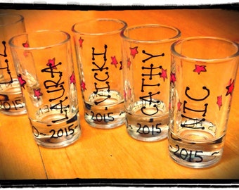 10 x custom request personalised shot glasses (price for 10)