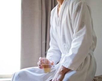 Dressing Gown for Men | White - Fine Black Flowers | 100% cotton, light, cozy & ultra-soft loungewear | handmade Men's Robe | Khasto