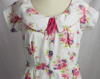 Vintage 1950s Floral Cotton Dress-Modern Size 10/12