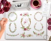Watercolor Clipart Wreaths Pink, Laurels, Banner, Flowers, Ampersand, Antlers, Arrow perfect for Floral wedding invitations wall art & more