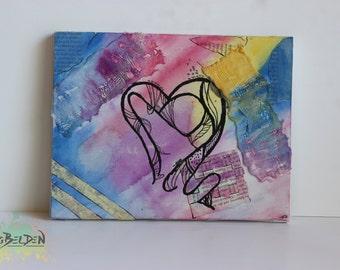 Watercolor Mixed Media Heart