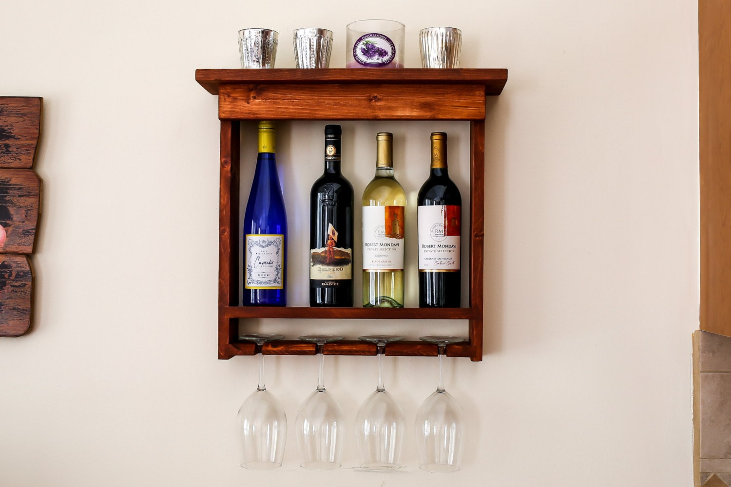 wall mounted wine rack with wine glass slots and shelf top. Black Bedroom Furniture Sets. Home Design Ideas