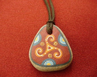 Hand painted stone necklace-Small present-Triskelion-Unique gift-Made with love-Triple spiral-Gift idea