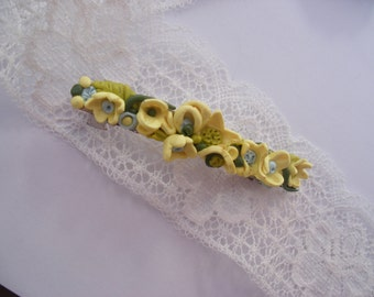 Summer time  barrette , pale yellow and turquoise flowers , green leaves ,  hair decoration , hair slide , clip hair accessories ,