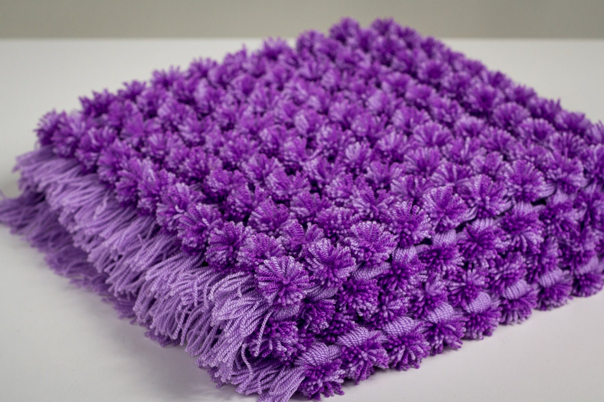 Knitting Pattern For Pom Pom Blanket : Cozy Small Blanket Purple Newborn Bump Blanket Mini Baby Pom