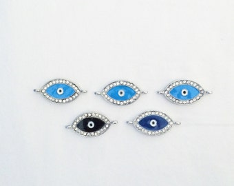 5 Set of Silver Evil Eye, Center Charm