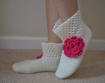 Crochet Creamy White Socks with Bright Pink Flower, Creamy White Home Boots with Neon Pink Flower, Creamy White Home Shoes,Women Accessories