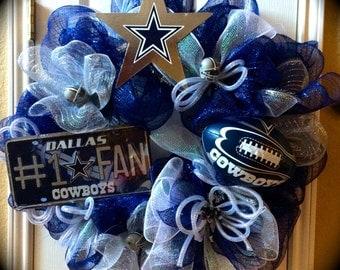 Deluxe Deco Mesh Wreaths, Dallas Cowboys Wreath, Ultimate Fan Gift, Dallas Cowboys authentic accessories,