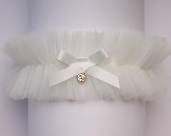 Tulle wedding garter, ivory tulle garter, white tulle garter, wedding garter, Aria - Style G07