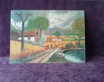 Vintage painting on wood(the harvest)1960