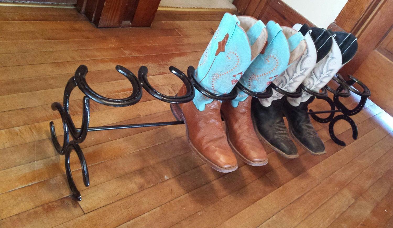 4 pair horseshoe boot rack. Black Bedroom Furniture Sets. Home Design Ideas