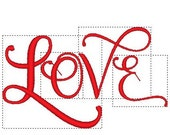 Caligraphy LOVE embroidery design file Perfect for Valentine's Day