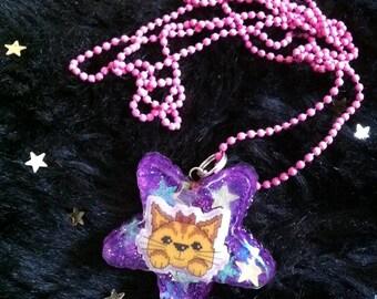 PIXEL KITTY kawaii necklace