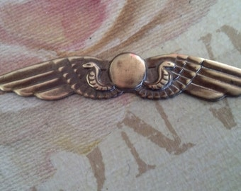 hand antiqued brass snake wings flourish 4 pc