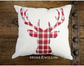 Deer Silhouette Pillow - COVER ONLY - Red Plaid/Cream - Pillow Cover - Winter Pillow - Antler Pillow - Stag Pillow - Stone & Willow