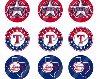 Texas Rangers digital collage sheet 4x6 1 inch round for bottle cap   INSTANT DOWNLOAD