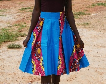 Fairtrade Pleated Wax Flare Skirt **FREE SHIPPING**