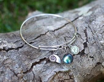 Zen Bangle Charm Bracelet, Yoga Charm Bracelet, Yen Yang Bracelet, Fibonacci Spiral Shell Jewelry, Yogi Bracelet