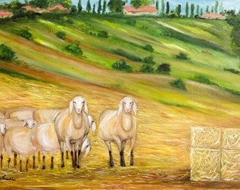 SHEEP in a MEADOW -Fabulous original oil painting pastoral and colorful piece of art.NOW*********Free Shipping**********