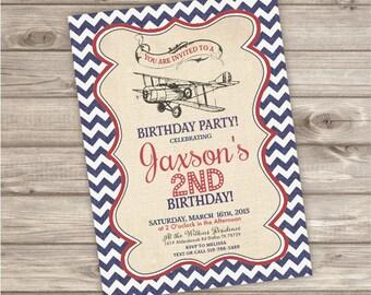Vintage Airplane Birthday Invitations NV112