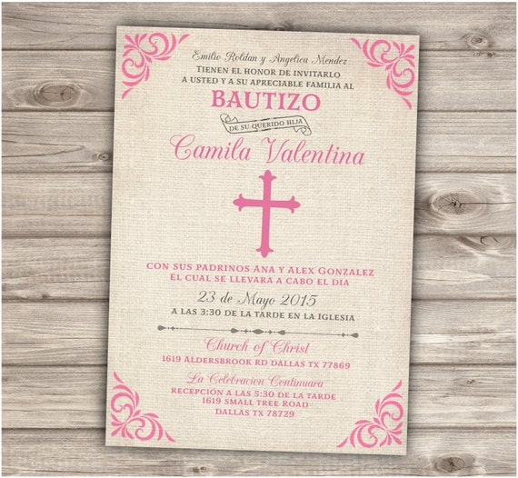 Spanish Baptism Invitations