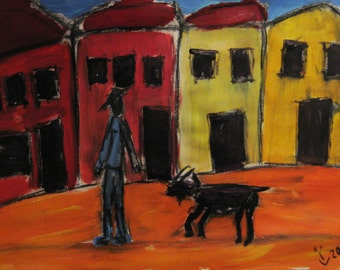 man with goat - acrylic painting