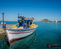 Naxos, Greek Island, Greece, Boat, fishing, clear water, Travel, landscape, scenery, Photo, print, wall art