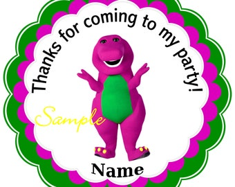 Barney  - Personalized Stickers, Party Favor Tags, Thank You Tags, Gift Tags, Birthday Stickers, Birthday, Baby Shower