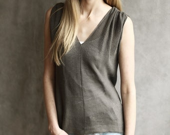 100% Cotton Sheer V-Neck Knitted Sleeveless Top / T-Shirt / Vest, Gathers at Shoulders