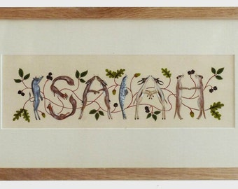 Name Painting - made to order/commission with letters represented by animals.