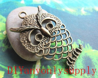 lead and nickel free---30pieces 36x57mm antiqued bronze/silver filigree Owl zinc alloy charms findings